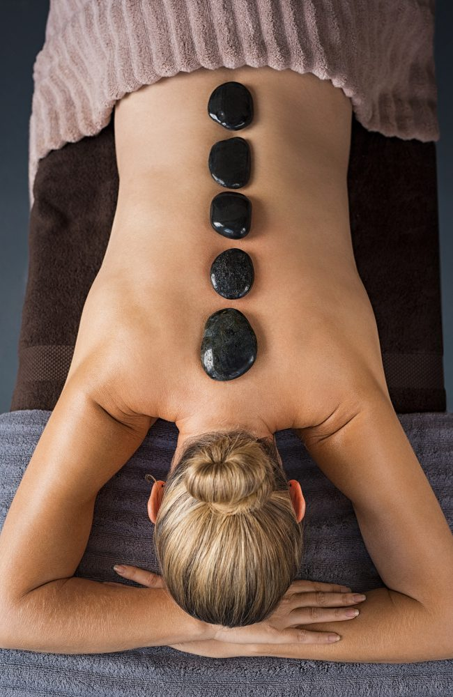 Hot stone massage at spa